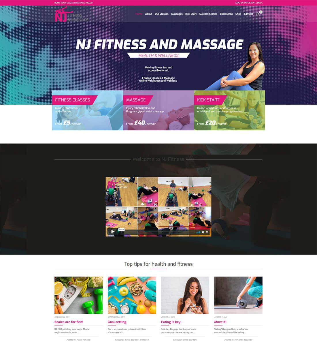 Nj Fitness and Massage - Web Design